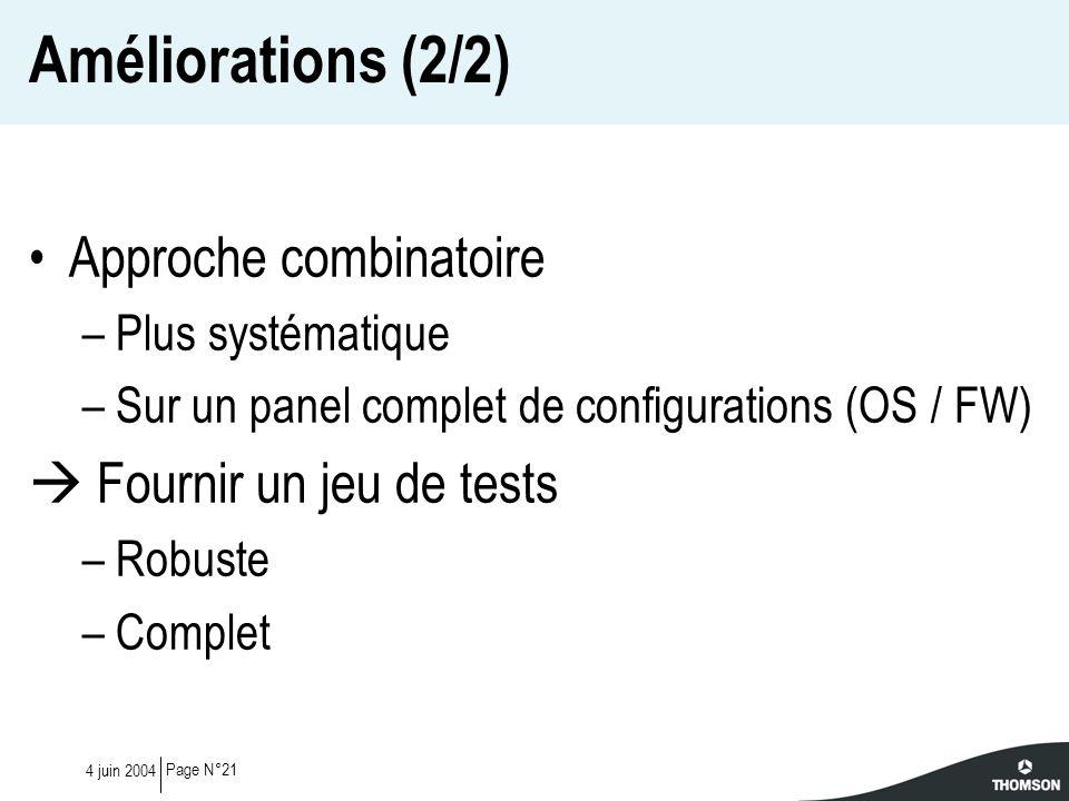 Page N°214 juin 2004 Améliorations (2/2) Approche combinatoire –Plus systématique –Sur un panel complet de configurations (OS / FW) Fournir un jeu de