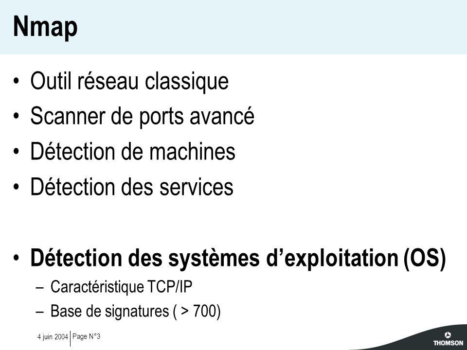Page N°44 juin 2004 Nmap – Détection dOS Port ouvert ISN (séquence TCP) IP ID (ouvert) TCP SYN + options TCP ACK TCP S/F/P/U TCP NULL Port fermé IP ID (fermé) TCP SYN, TCP ACK UDP (réponse ICMP) TCP Xmas (F/P/U) TCP ACK TCP S/F/P/UTCP Xmas (F/P/U) TCP NULL Paquets non-standards