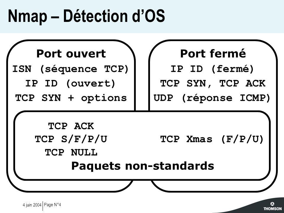 Page N°154 juin 2004 Validation de loutil #nmap-stateful --otf good --off signatures -p 80 x.x.x.x Interesting ports on x.x.x.x: PORT STATE SERVICE 80/tcp open http OS details: Linux 2.4 Test sur un Linux 2.4 #nmap-stateful --otf good --off signatures -p 80 y.y.y.y Interesting ports on y.y.y.y: PORT STATE SERVICE 80/tcp open http Aggressive OS guesses: Linux 2.6 (97%), Linux 2.4 (96%) Autre test sur un Linux 2.4