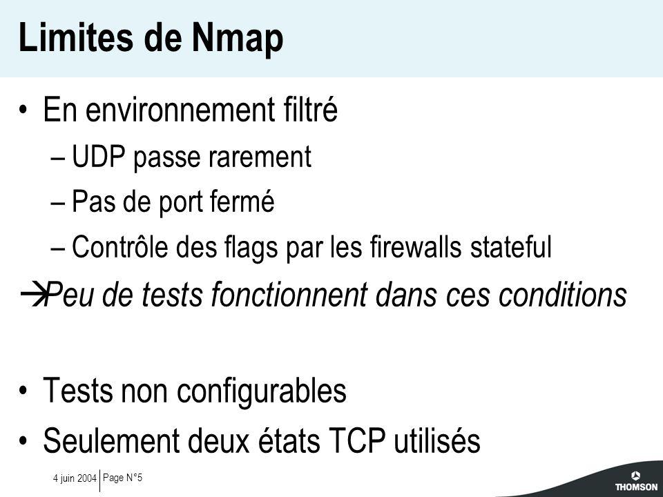 Page N°54 juin 2004 Limites de Nmap En environnement filtré –UDP passe rarement –Pas de port fermé –Contrôle des flags par les firewalls stateful Peu