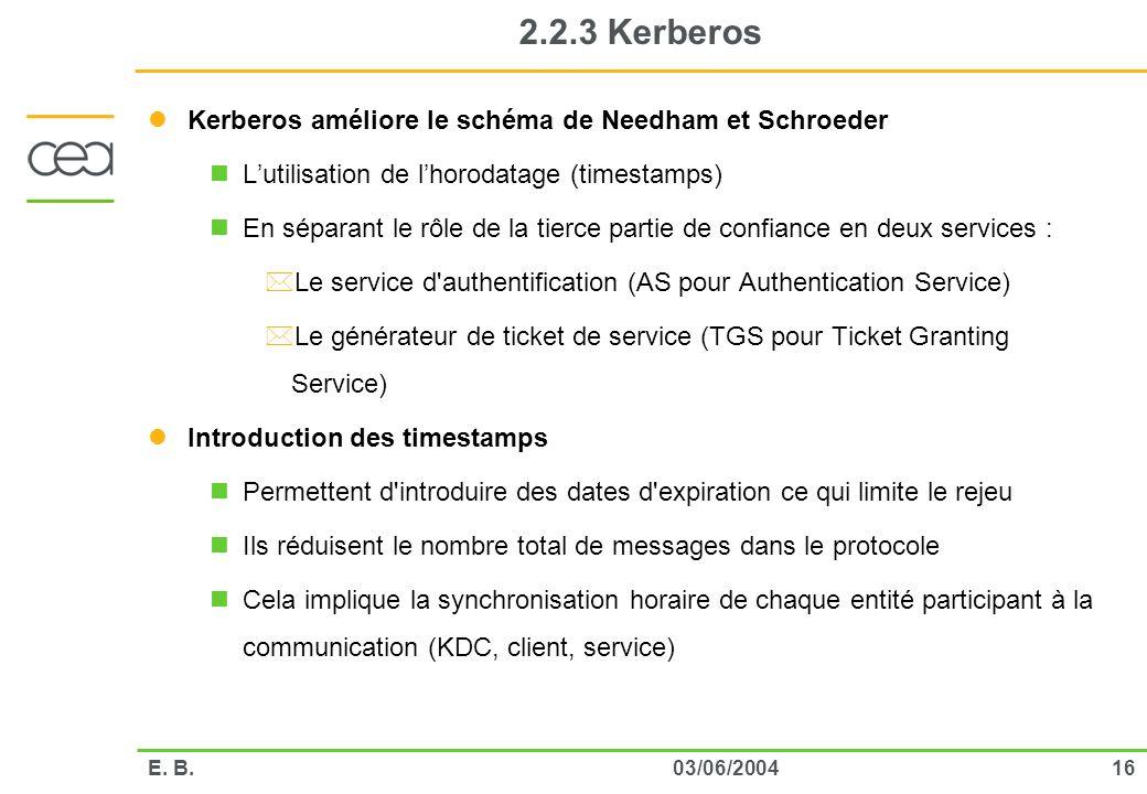 1603/06/2004E. B. 2.2.3 Kerberos Kerberos améliore le schéma de Needham et Schroeder Lutilisation de lhorodatage (timestamps) En séparant le rôle de l