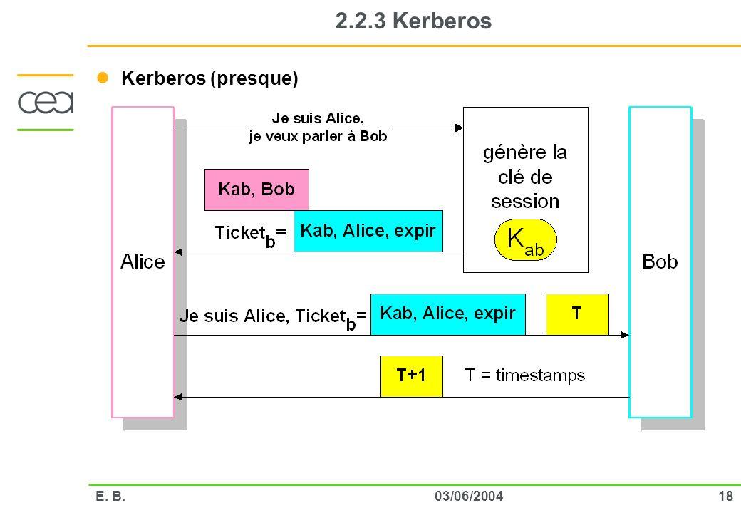 1803/06/2004E. B. 2.2.3 Kerberos Kerberos (presque)