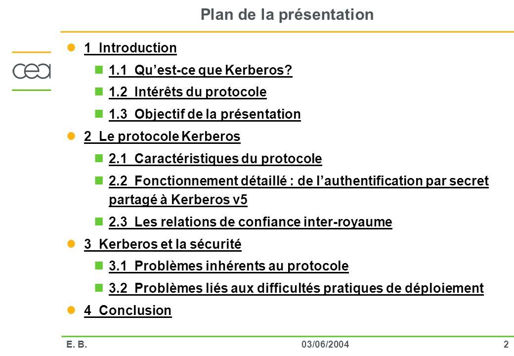 203/06/2004E. B. Plan de la présentation 1 Introduction 1.1 Quest-ce que Kerberos? 1.2 Intérêts du protocole 1.3 Objectif de la présentation 2 Le prot