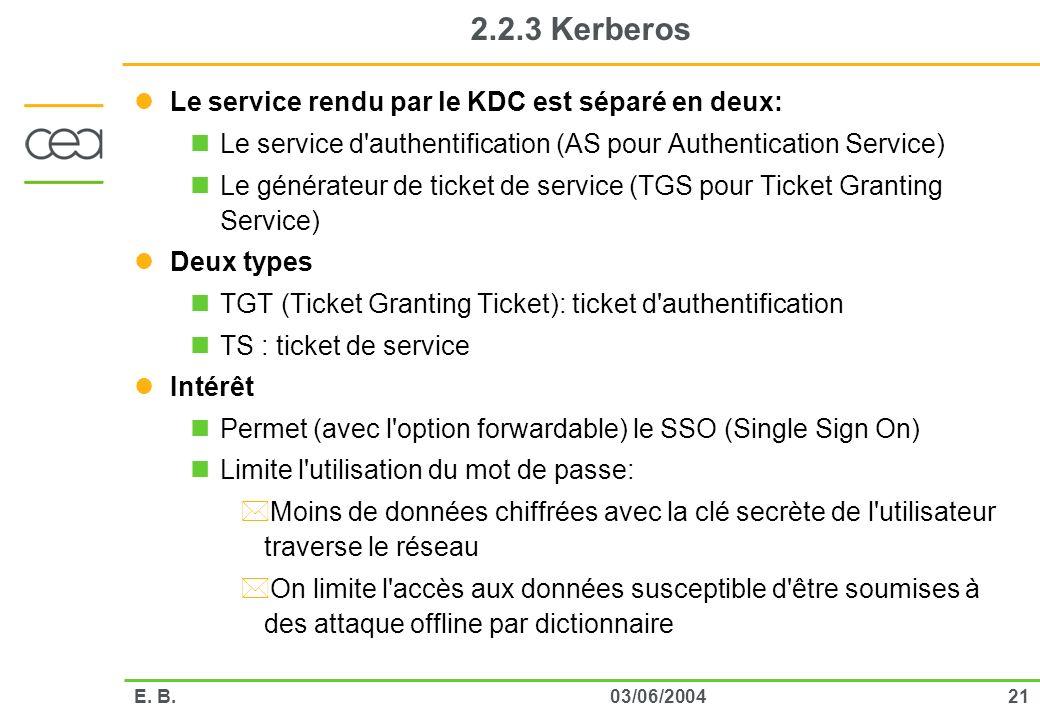 2103/06/2004E. B. 2.2.3 Kerberos Le service rendu par le KDC est séparé en deux: Le service d'authentification (AS pour Authentication Service) Le gén
