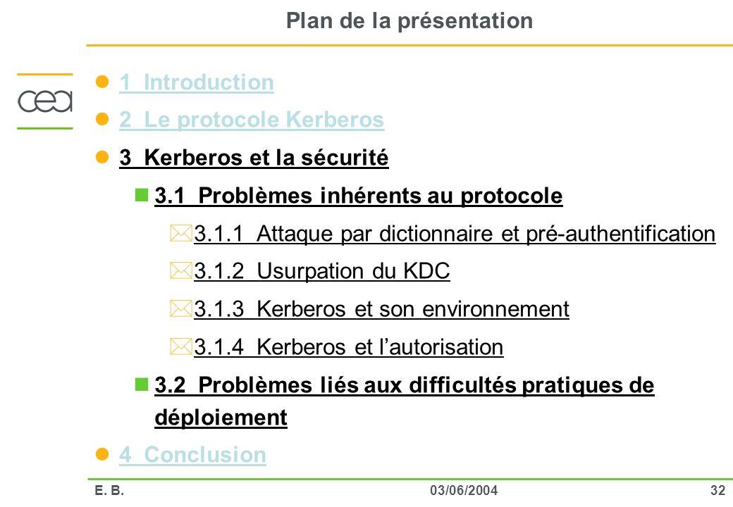 3203/06/2004E. B. Plan de la présentation 1 Introduction 2 Le protocole Kerberos 3 Kerberos et la sécurité 3.1 Problèmes inhérents au protocole *3.1.1