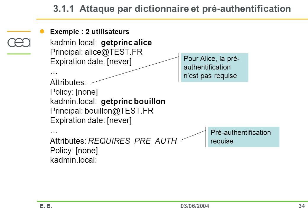3403/06/2004E. B. 3.1.1 Attaque par dictionnaire et pré-authentification Exemple : 2 utilisateurs kadmin.local: getprinc alice Principal: alice@TEST.F