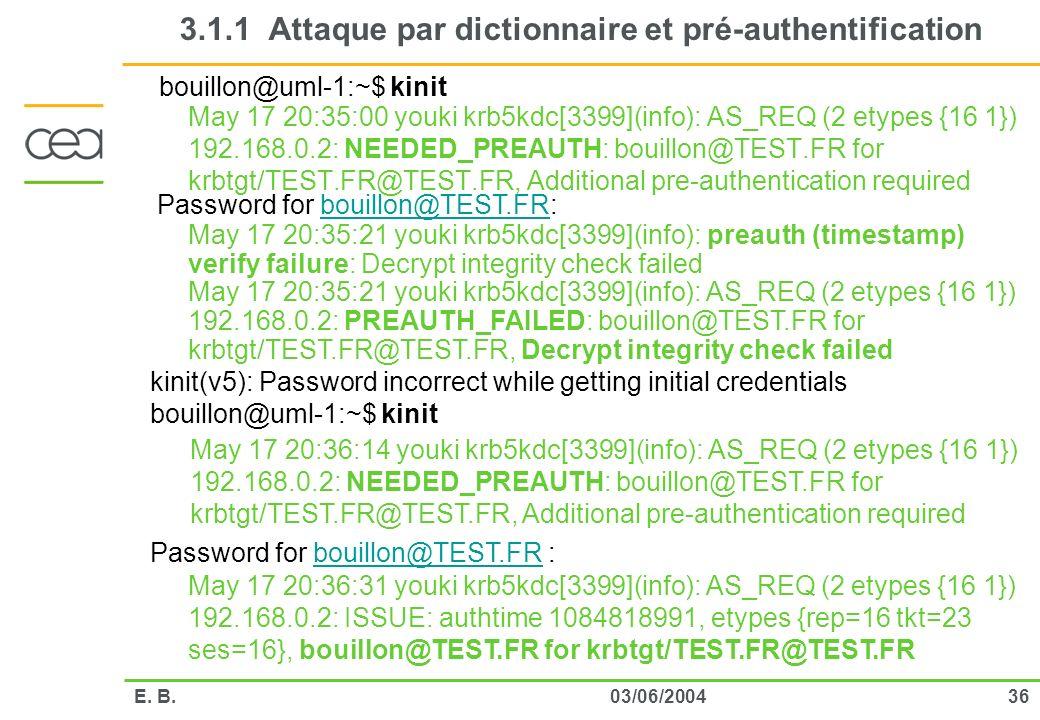 3603/06/2004E. B. 3.1.1 Attaque par dictionnaire et pré-authentification May 17 20:35:00 youki krb5kdc[3399](info): AS_REQ (2 etypes {16 1}) 192.168.0