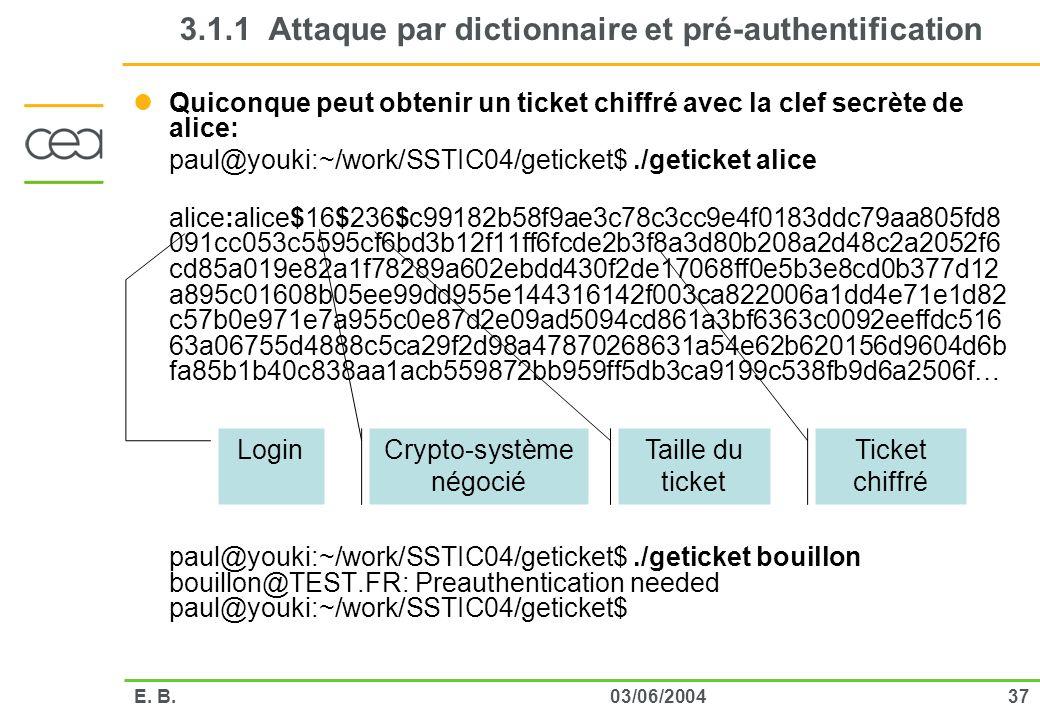 3703/06/2004E. B. 3.1.1 Attaque par dictionnaire et pré-authentification Quiconque peut obtenir un ticket chiffré avec la clef secrète de alice: paul@