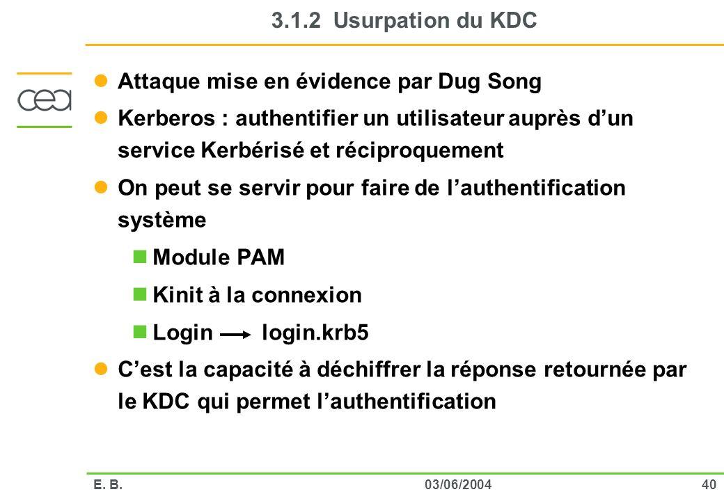 4003/06/2004E. B. 3.1.2 Usurpation du KDC Attaque mise en évidence par Dug Song Kerberos : authentifier un utilisateur auprès dun service Kerbérisé et