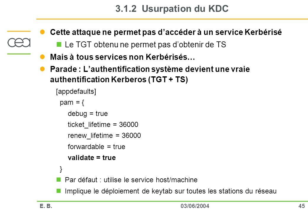 4503/06/2004E. B. 3.1.2 Usurpation du KDC Cette attaque ne permet pas daccéder à un service Kerbérisé Le TGT obtenu ne permet pas dobtenir de TS Mais