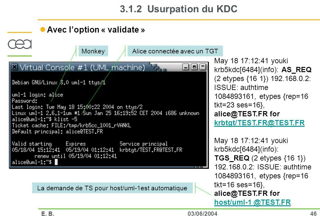 4603/06/2004E. B. 3.1.2 Usurpation du KDC Avec loption « validate » May 18 17:12:41 youki krb5kdc[6484](info): AS_REQ (2 etypes {16 1}) 192.168.0.2: I