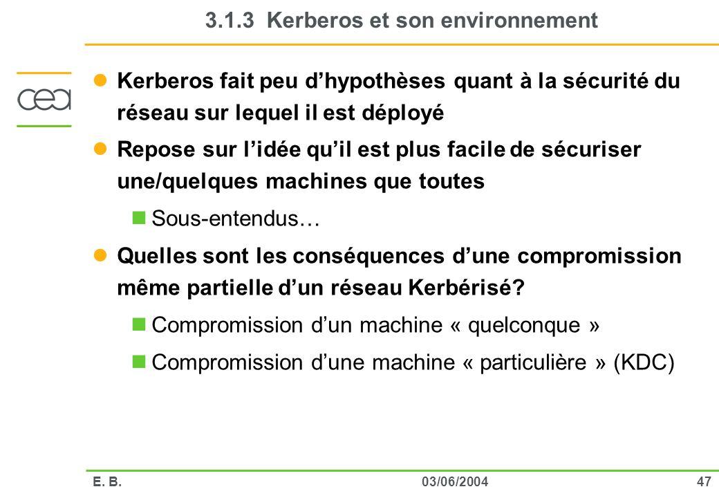 4703/06/2004E. B. 3.1.3 Kerberos et son environnement Kerberos fait peu dhypothèses quant à la sécurité du réseau sur lequel il est déployé Repose sur
