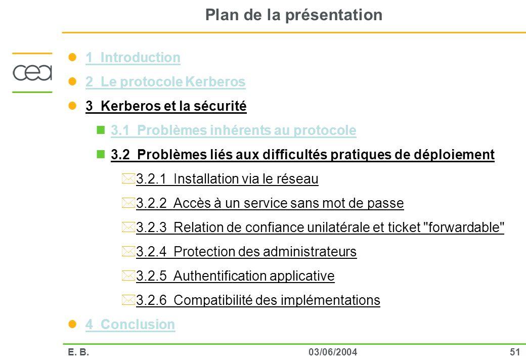 5103/06/2004E. B. Plan de la présentation 1 Introduction 2 Le protocole Kerberos 3 Kerberos et la sécurité 3.1 Problèmes inhérents au protocole 3.2 Pr