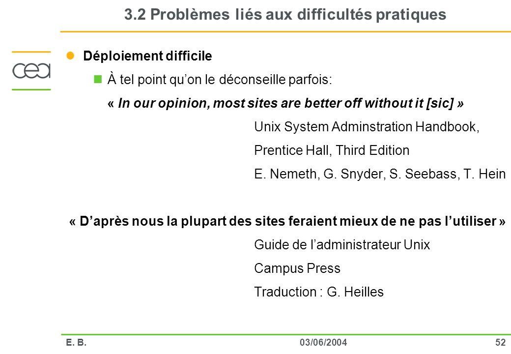 5203/06/2004E. B. 3.2 Problèmes liés aux difficultés pratiques Déploiement difficile À tel point quon le déconseille parfois: « In our opinion, most s