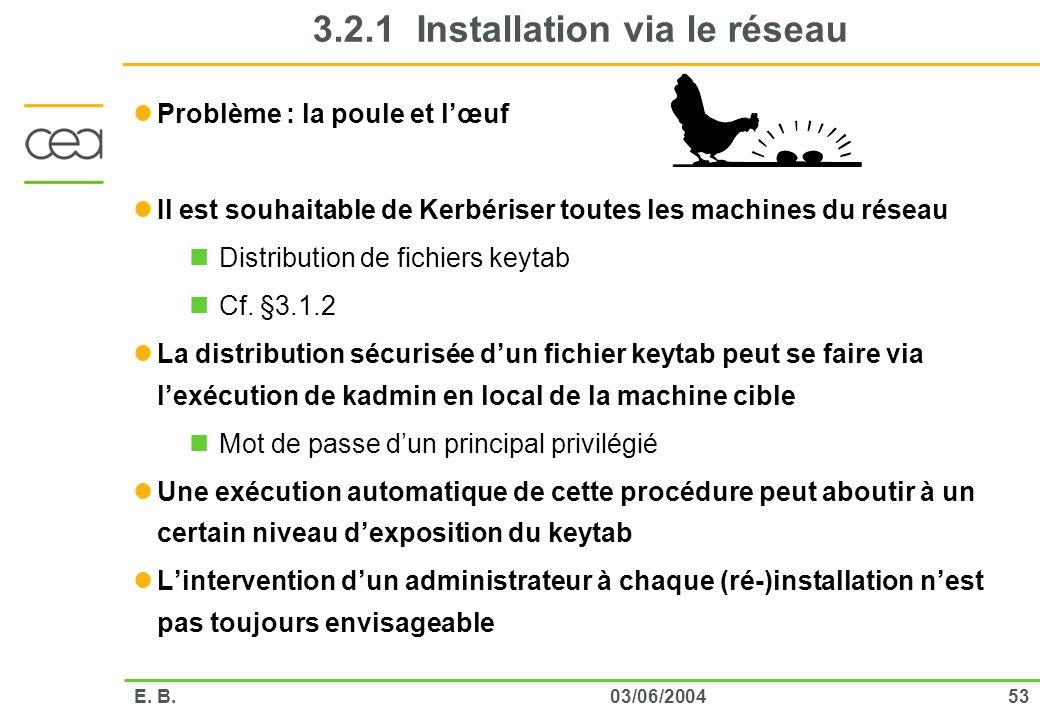 5303/06/2004E. B. 3.2.1 Installation via le réseau Problème : la poule et lœuf Il est souhaitable de Kerbériser toutes les machines du réseau Distribu