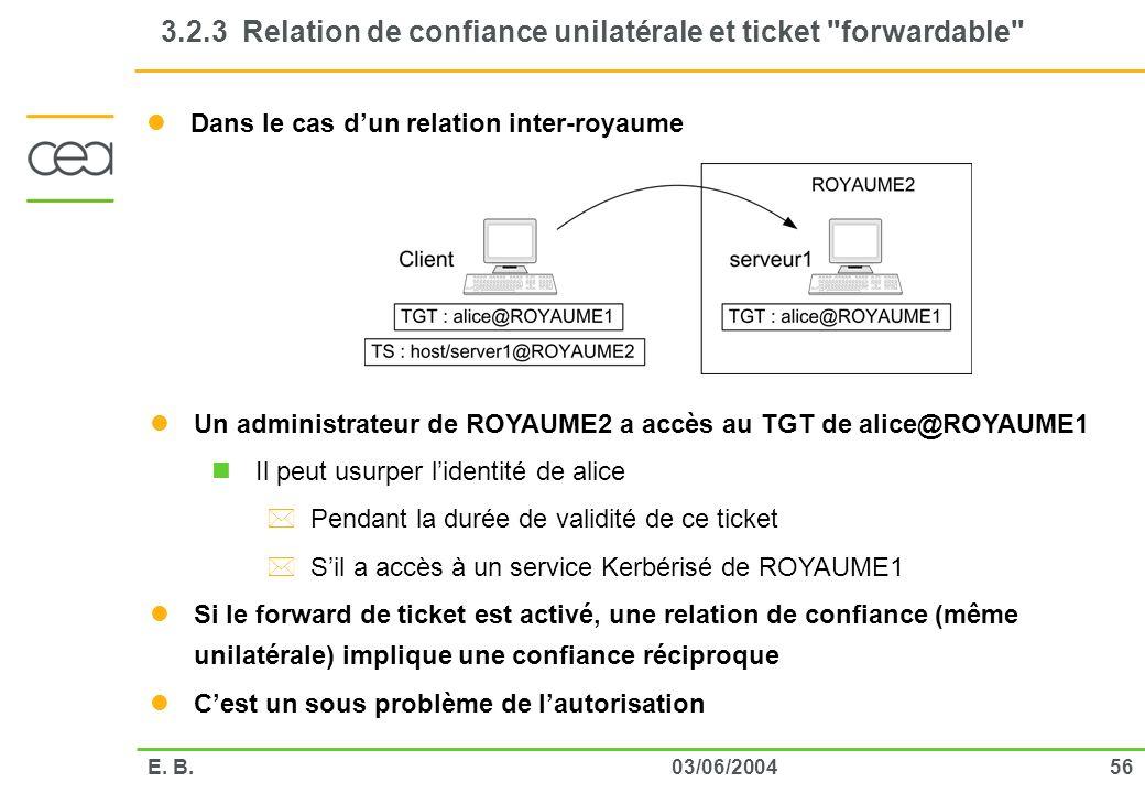 5603/06/2004E. B. 3.2.3 Relation de confiance unilatérale et ticket