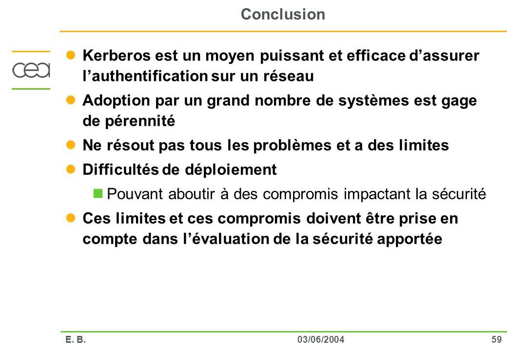 5903/06/2004E. B. Conclusion Kerberos est un moyen puissant et efficace dassurer lauthentification sur un réseau Adoption par un grand nombre de systè