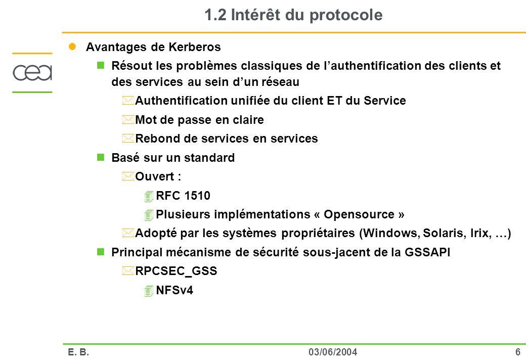 603/06/2004E. B. 1.2 Intérêt du protocole Avantages de Kerberos Résout les problèmes classiques de lauthentification des clients et des services au se