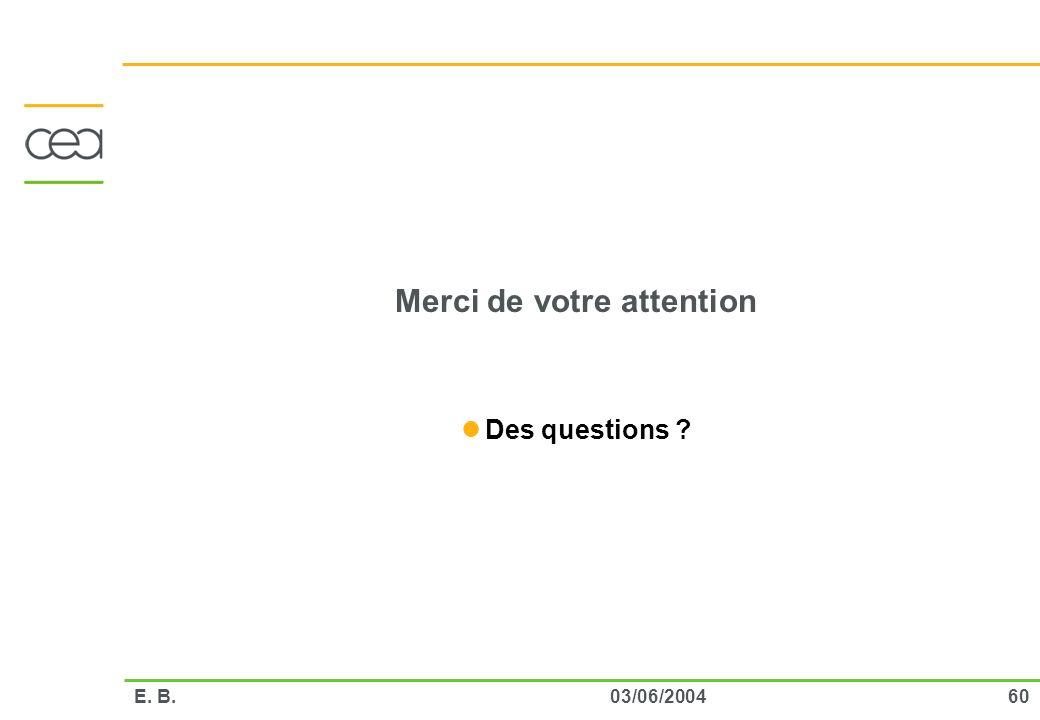 6003/06/2004E. B. Merci de votre attention Des questions ?