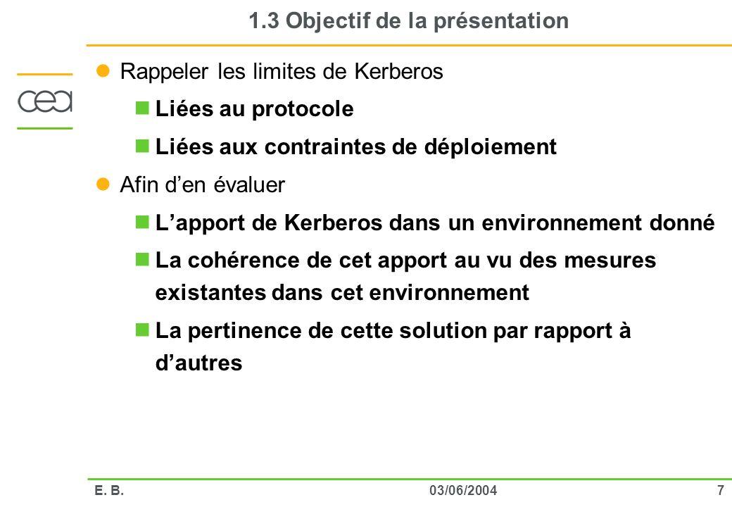 703/06/2004E. B. 1.3 Objectif de la présentation Rappeler les limites de Kerberos Liées au protocole Liées aux contraintes de déploiement Afin den éva