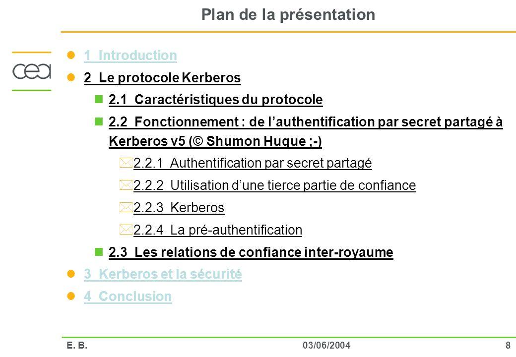 803/06/2004E. B. Plan de la présentation 1 Introduction 2 Le protocole Kerberos 2.1 Caractéristiques du protocole 2.2 Fonctionnement : de lauthentific