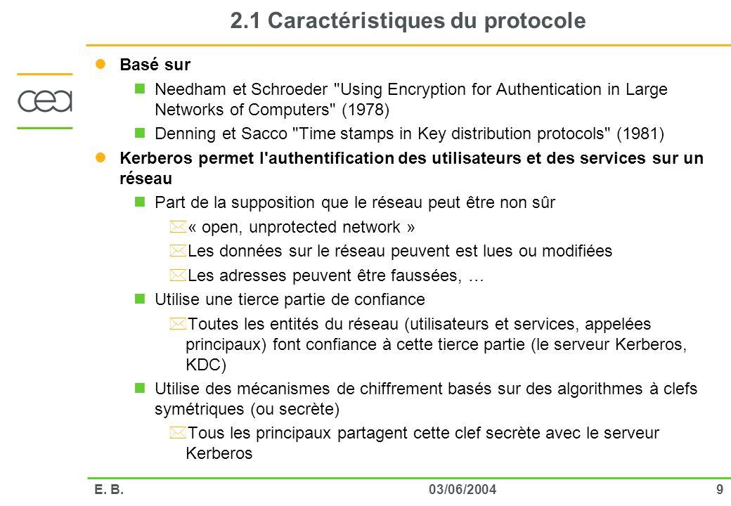903/06/2004E. B. 2.1 Caractéristiques du protocole Basé sur Needham et Schroeder