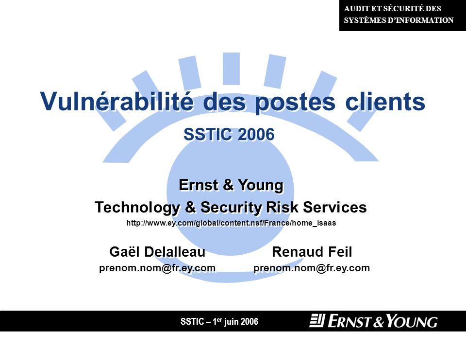 SSTIC – 1 er juin 2006 12 Gaël Delalleau - Renaud Feil Fingerprinting de logiciel client : lexemple des navigateurs Web Différences dimplémentation de certaines fonctionnalités, comme le parsing du code HTML.