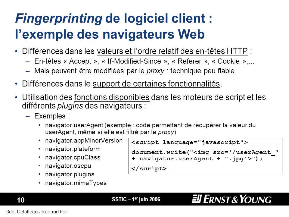SSTIC – 1 er juin 2006 10 Gaël Delalleau - Renaud Feil Fingerprinting de logiciel client : lexemple des navigateurs Web Différences dans les valeurs e