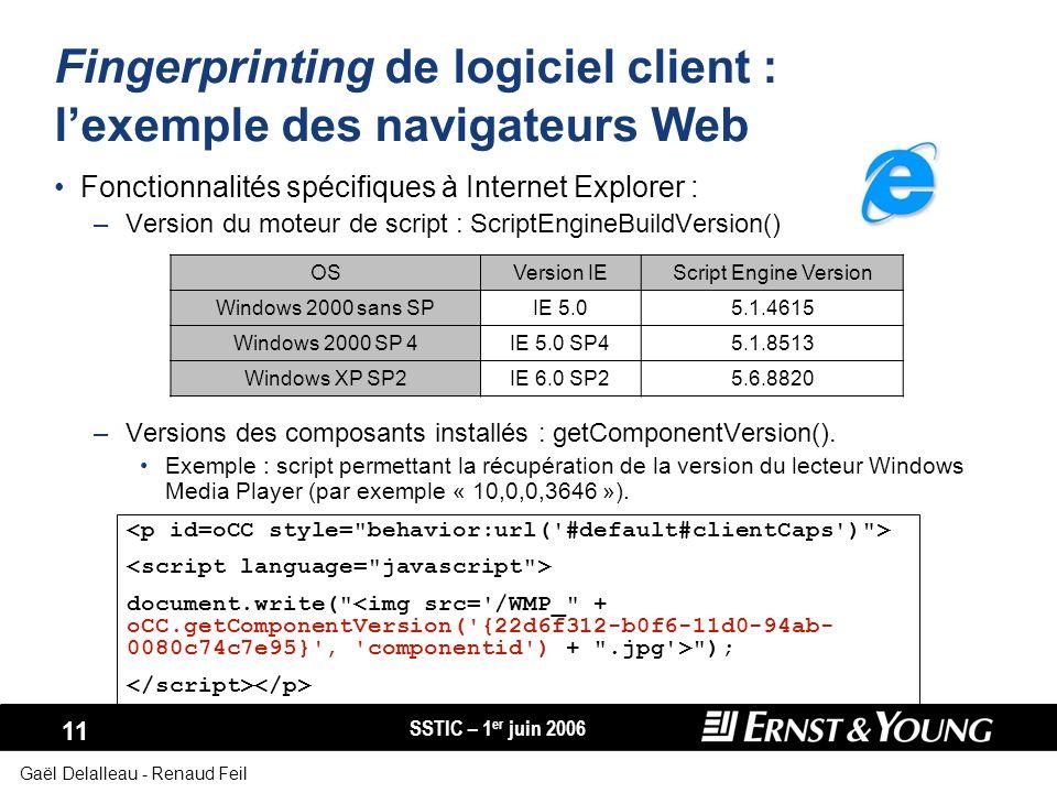 SSTIC – 1 er juin 2006 11 Gaël Delalleau - Renaud Feil Fingerprinting de logiciel client : lexemple des navigateurs Web Fonctionnalités spécifiques à