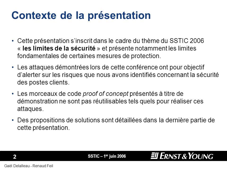 SSTIC – 1 er juin 2006 2 Gaël Delalleau - Renaud Feil Contexte de la présentation Cette présentation sinscrit dans le cadre du thème du SSTIC 2006 « l
