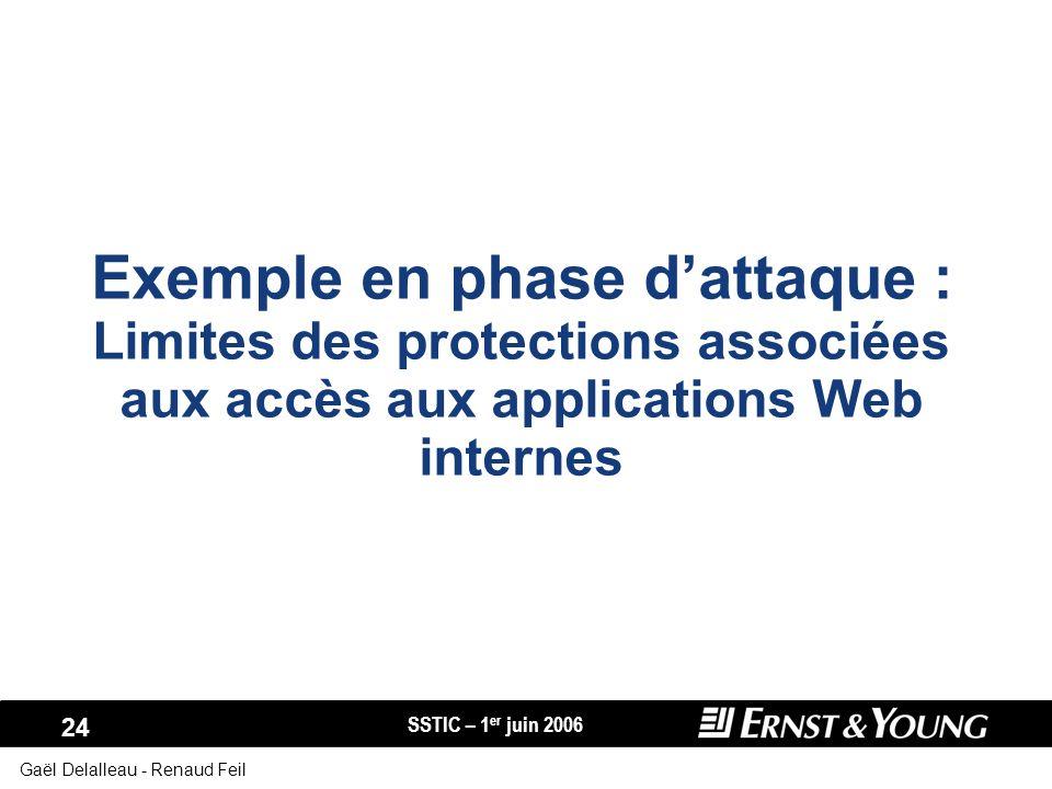 SSTIC – 1 er juin 2006 24 Gaël Delalleau - Renaud Feil Exemple en phase dattaque : Limites des protections associées aux accès aux applications Web in