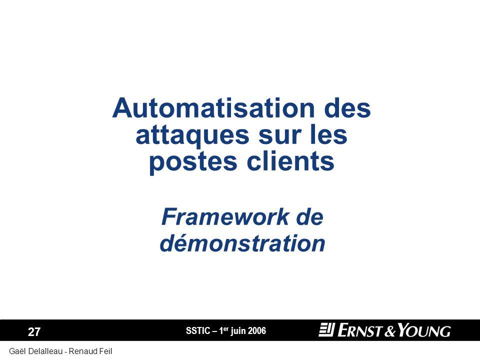 SSTIC – 1 er juin 2006 27 Gaël Delalleau - Renaud Feil Automatisation des attaques sur les postes clients Framework de démonstration