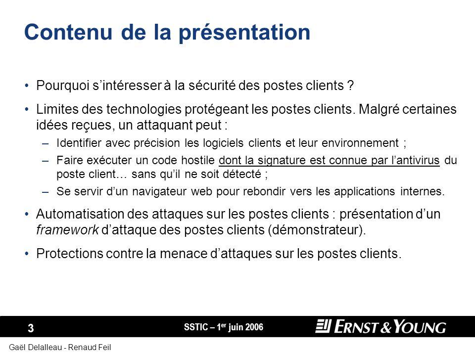 SSTIC – 1 er juin 2006 34 Gaël Delalleau - Renaud Feil Prévention des attaques Renforcement de la configuration du poste de travail : –« End-point protection », –NX, –Paramétrage de sécurité des logiciels clients (par exemple : zones de sécurité dInternet Explorer).