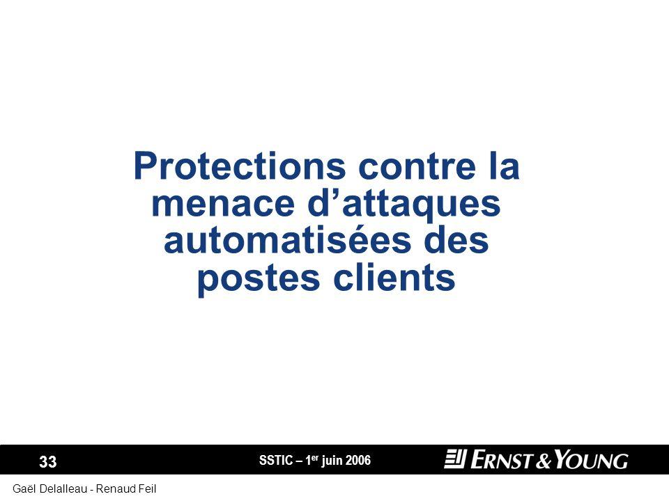 SSTIC – 1 er juin 2006 33 Gaël Delalleau - Renaud Feil Protections contre la menace dattaques automatisées des postes clients