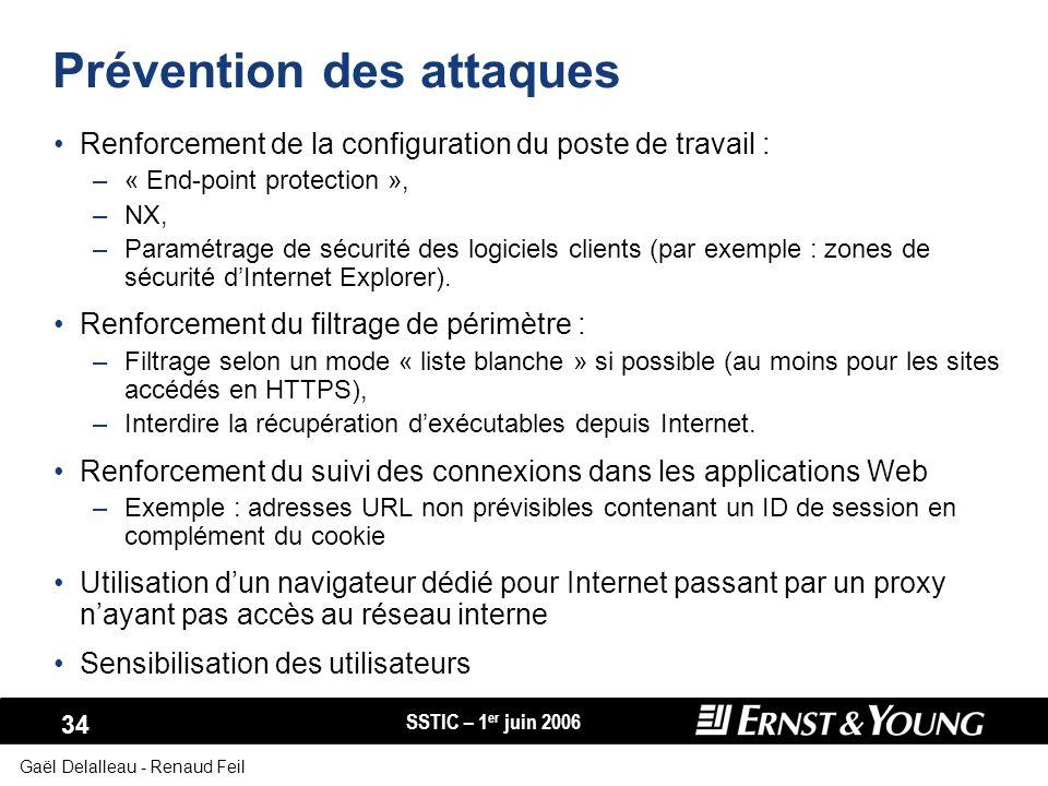 SSTIC – 1 er juin 2006 34 Gaël Delalleau - Renaud Feil Prévention des attaques Renforcement de la configuration du poste de travail : –« End-point pro