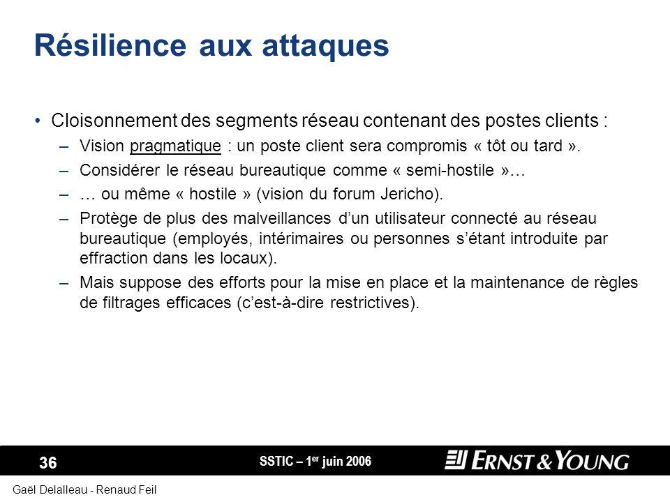 SSTIC – 1 er juin 2006 36 Gaël Delalleau - Renaud Feil Résilience aux attaques Cloisonnement des segments réseau contenant des postes clients : –Visio