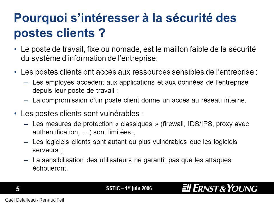 SSTIC – 1 er juin 2006 36 Gaël Delalleau - Renaud Feil Résilience aux attaques Cloisonnement des segments réseau contenant des postes clients : –Vision pragmatique : un poste client sera compromis « tôt ou tard ».