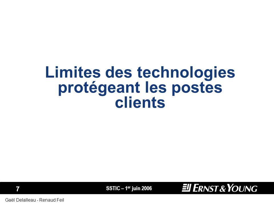 SSTIC – 1 er juin 2006 7 Gaël Delalleau - Renaud Feil Limites des technologies protégeant les postes clients