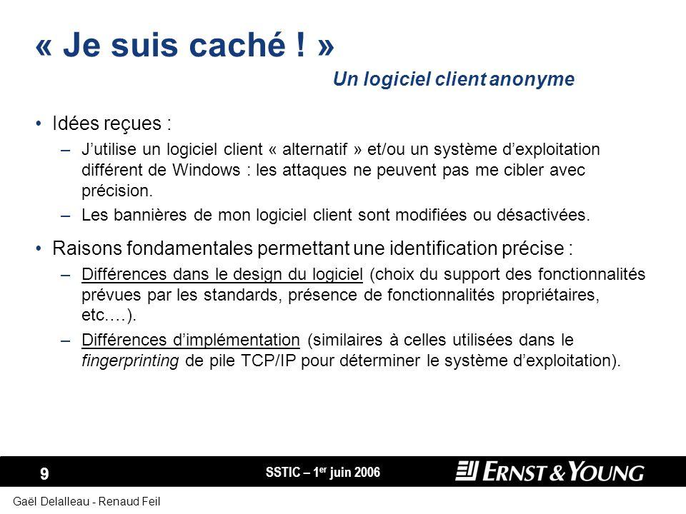 SSTIC – 1 er juin 2006 10 Gaël Delalleau - Renaud Feil Fingerprinting de logiciel client : lexemple des navigateurs Web Différences dans les valeurs et lordre relatif des en-têtes HTTP : –En-têtes « Accept », « If-Modified-Since », « Referer », « Cookie »,...
