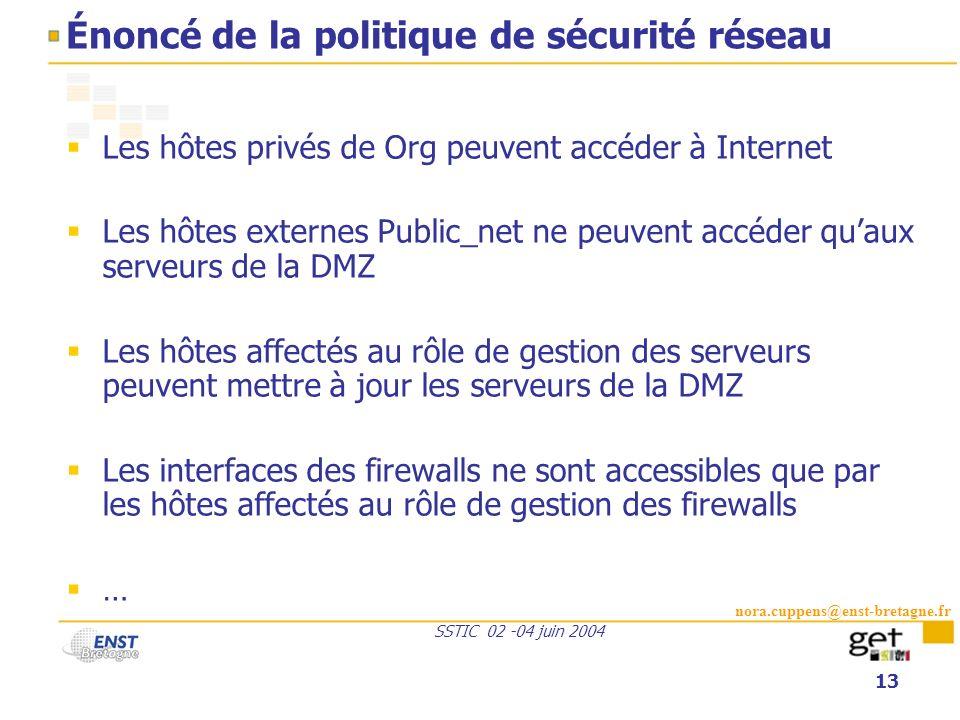 nora.cuppens@enst-bretagne.fr SSTIC 02 -04 juin 2004 13 Énoncé de la politique de sécurité réseau Les hôtes privés de Org peuvent accéder à Internet L