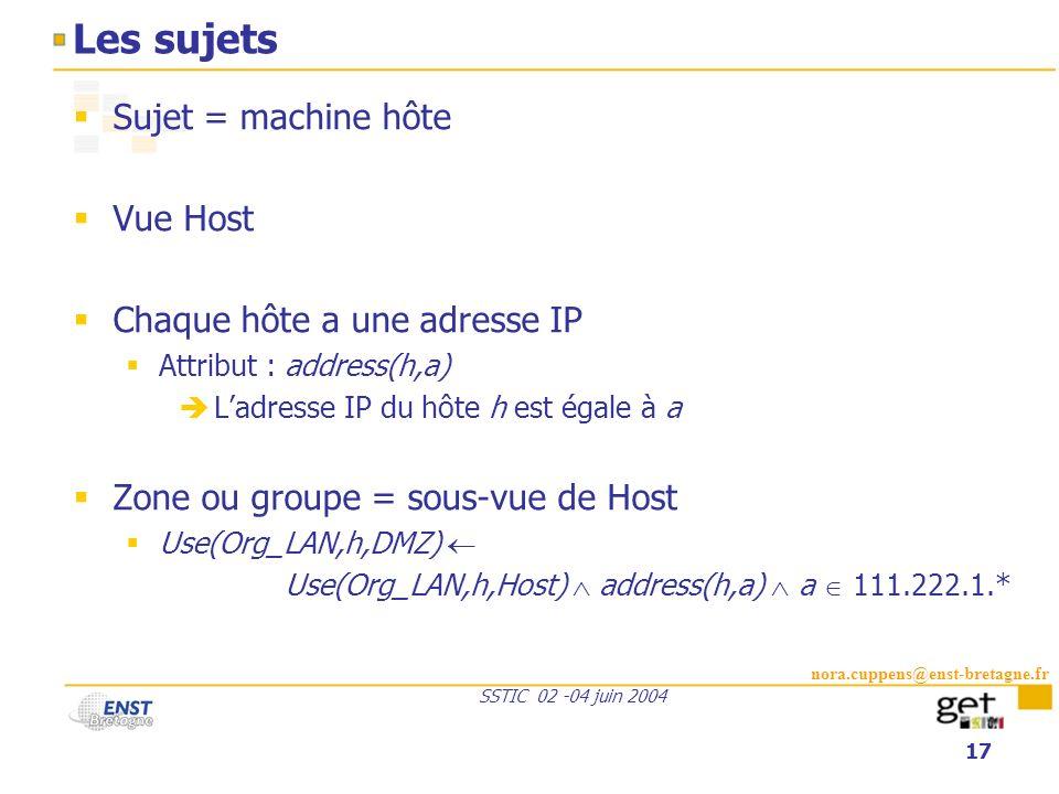 nora.cuppens@enst-bretagne.fr SSTIC 02 -04 juin 2004 17 Les sujets Sujet = machine hôte Vue Host Chaque hôte a une adresse IP Attribut : address(h,a)