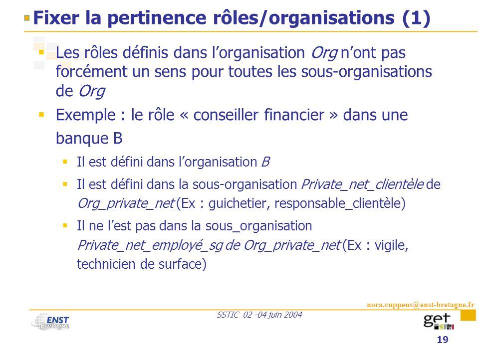 nora.cuppens@enst-bretagne.fr SSTIC 02 -04 juin 2004 19 Fixer la pertinence rôles/organisations (1) Les rôles définis dans lorganisation Org nont pas