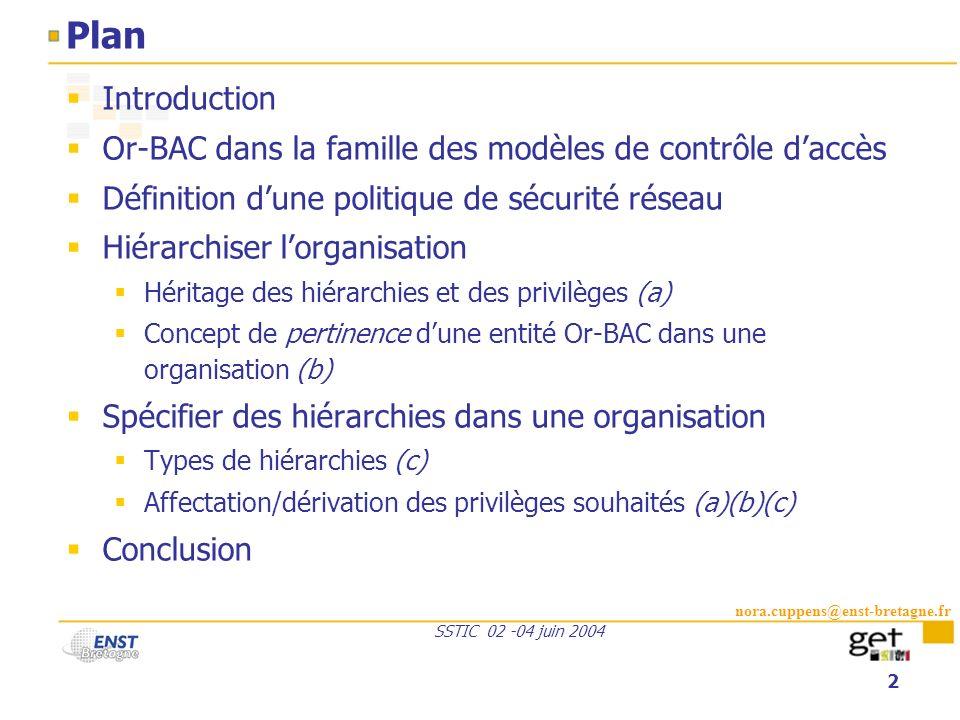 nora.cuppens@enst-bretagne.fr SSTIC 02 -04 juin 2004 2 Plan Introduction Or-BAC dans la famille des modèles de contrôle daccès Définition dune politiq