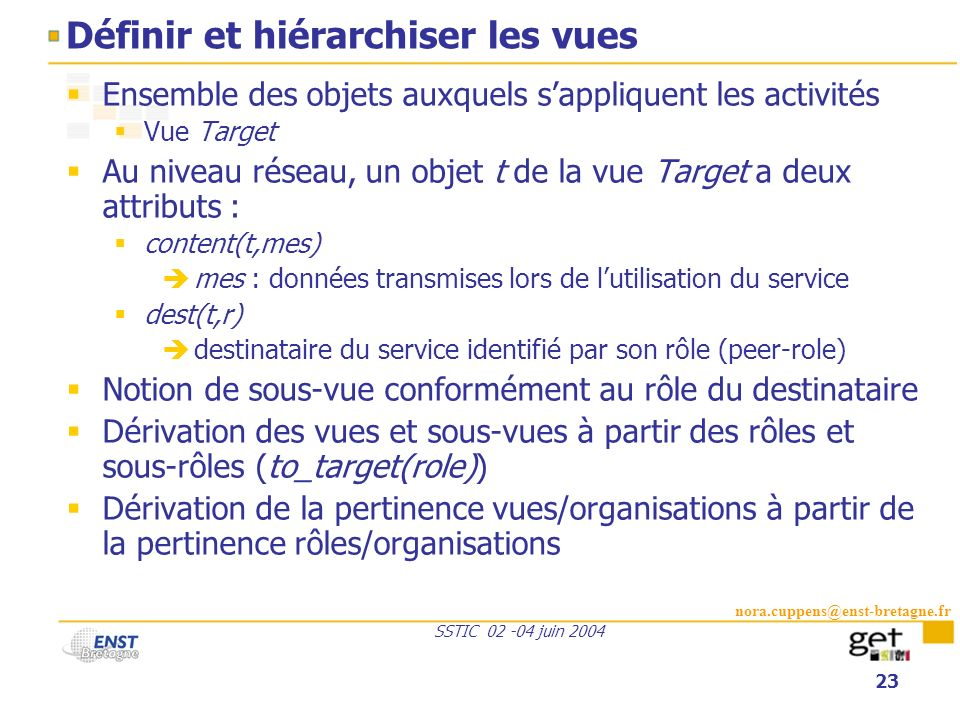 nora.cuppens@enst-bretagne.fr SSTIC 02 -04 juin 2004 23 Définir et hiérarchiser les vues Ensemble des objets auxquels sappliquent les activités Vue Ta