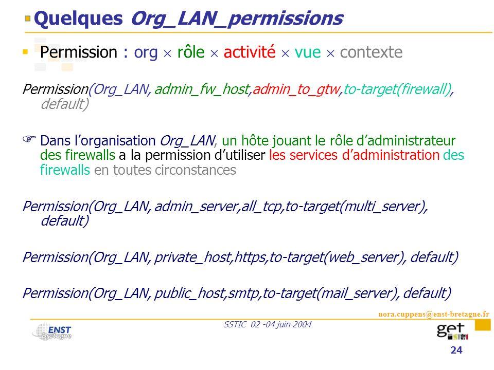 nora.cuppens@enst-bretagne.fr SSTIC 02 -04 juin 2004 24 Quelques Org_LAN_permissions Permission : org rôle activité vue contexte Permission(Org_LAN, a
