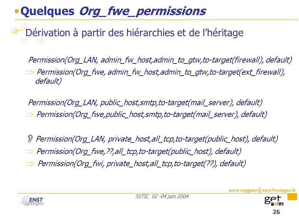 nora.cuppens@enst-bretagne.fr SSTIC 02 -04 juin 2004 26 Quelques Org_fwe_permissions Dérivation à partir des hiérarchies et de lhéritage Permission(Or