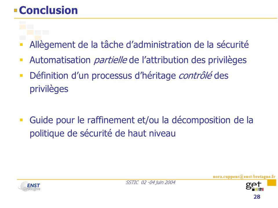 nora.cuppens@enst-bretagne.fr SSTIC 02 -04 juin 2004 28 Conclusion Allègement de la tâche dadministration de la sécurité Automatisation partielle de l