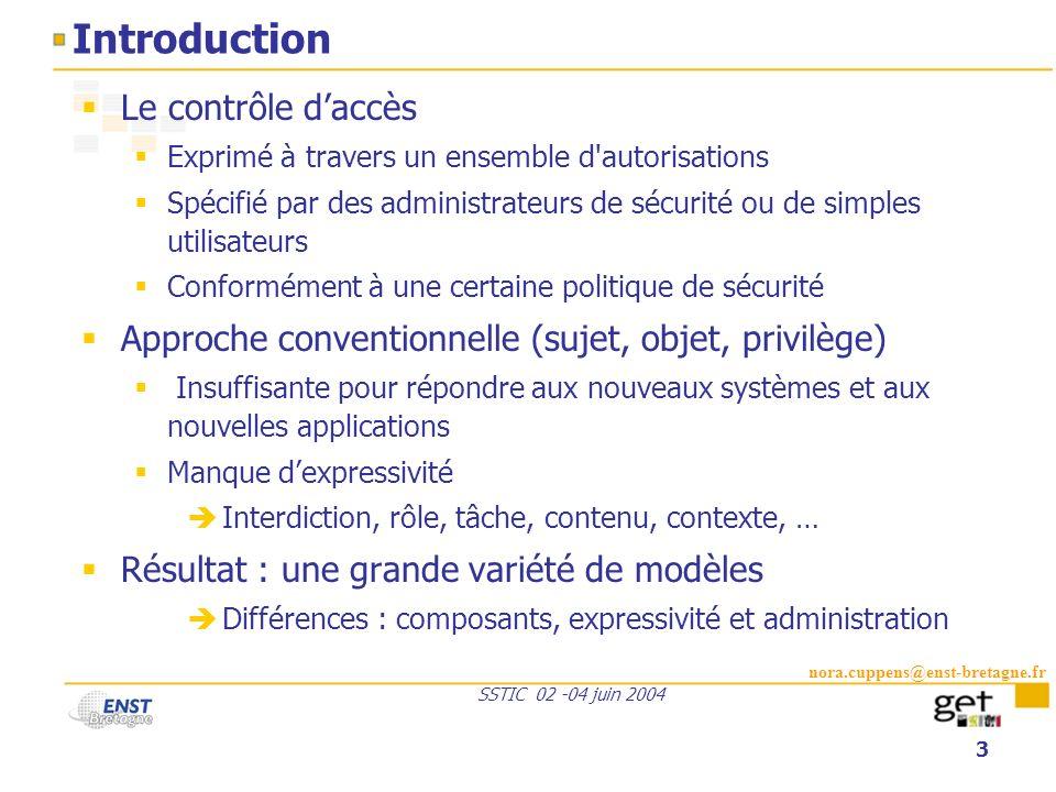 nora.cuppens@enst-bretagne.fr SSTIC 02 -04 juin 2004 3 Introduction Le contrôle daccès Exprimé à travers un ensemble d'autorisations Spécifié par des