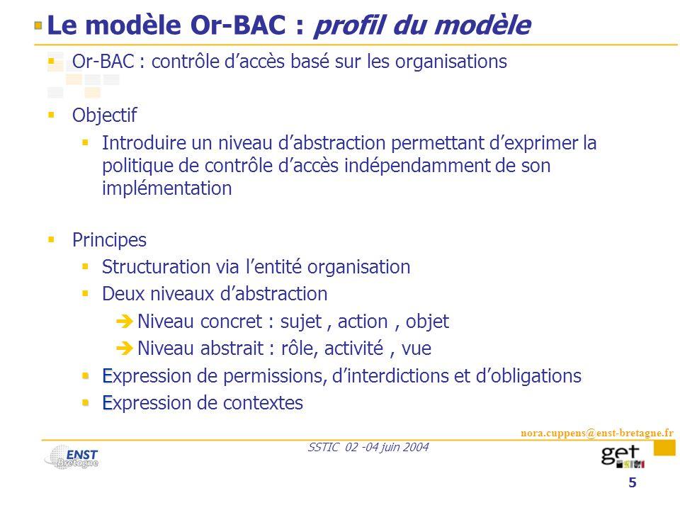nora.cuppens@enst-bretagne.fr SSTIC 02 -04 juin 2004 5 Le modèle Or-BAC : profil du modèle Or-BAC : contrôle daccès basé sur les organisations Objecti