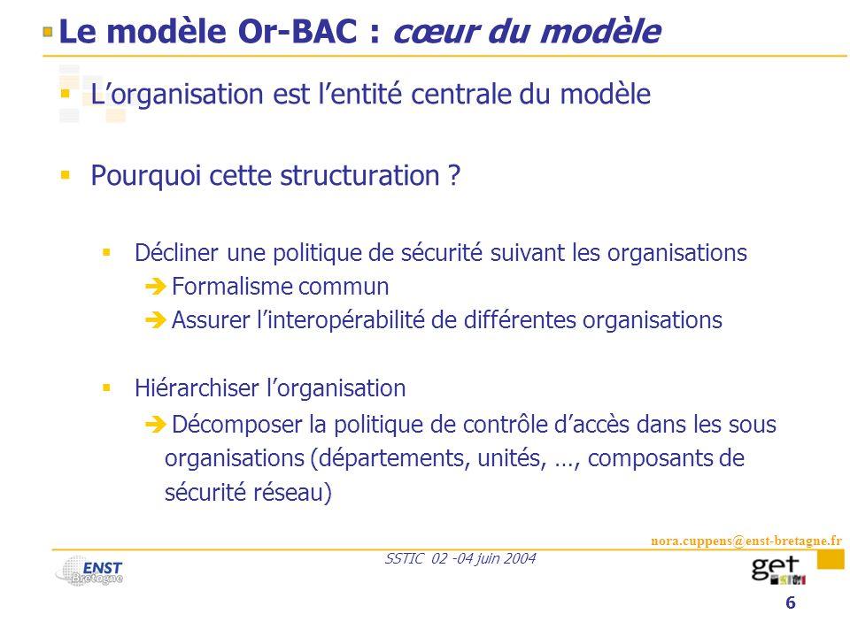 nora.cuppens@enst-bretagne.fr SSTIC 02 -04 juin 2004 6 Le modèle Or-BAC : cœur du modèle Lorganisation est lentité centrale du modèle Pourquoi cette s